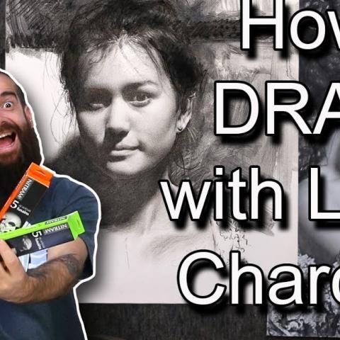 How I Draw with Nitram's Liquid Charcoal/Demonstration. Cesar Santos vlog 079